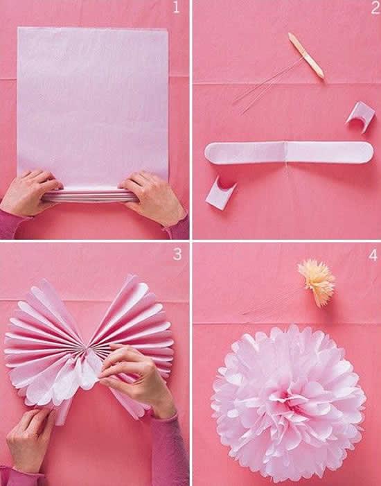 Aprenda como fazer flores de papel seda