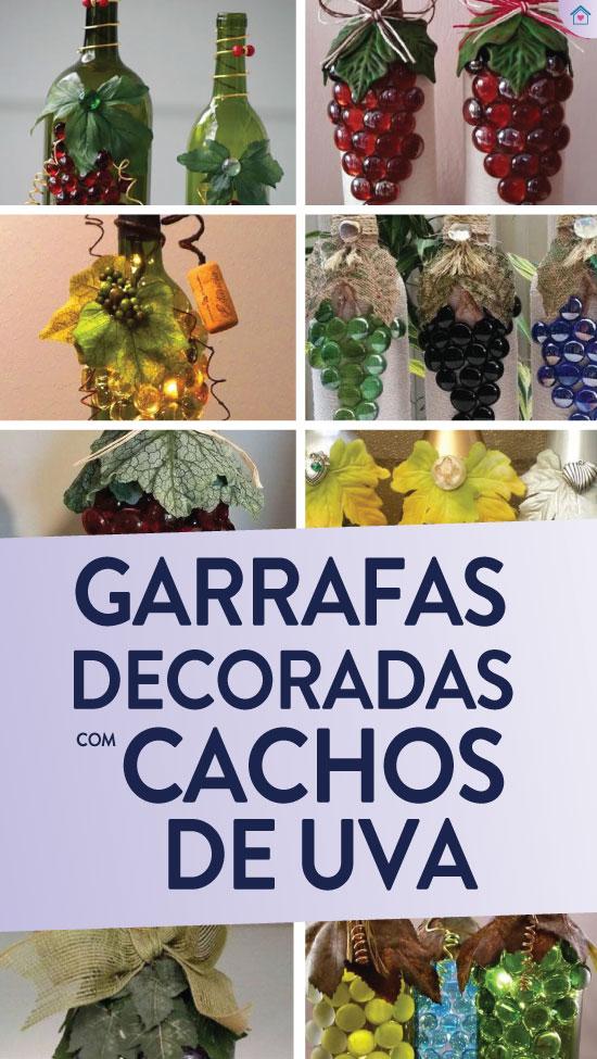 Garrafas decoradas com cacho de uvas