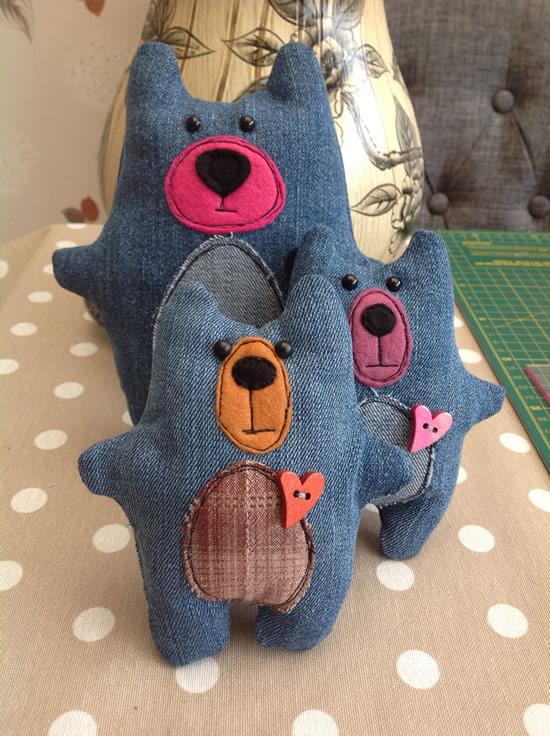 Ursinhos com tecido jeans