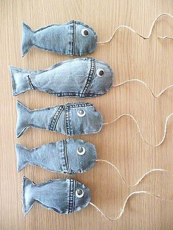 Peixinhos com tecido jeans