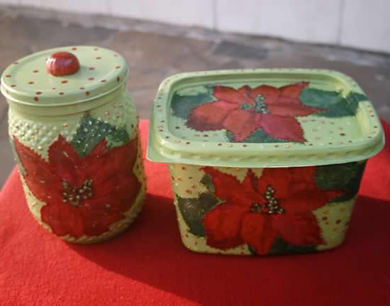 Reciclagem com potes de margarina