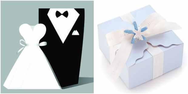 Caixinhas de papel com moldes para casamento