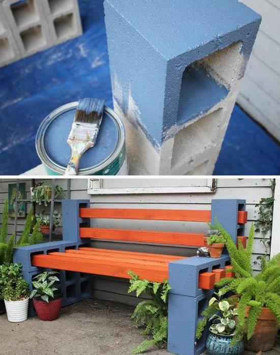 Faça um banco com blocos de concreto