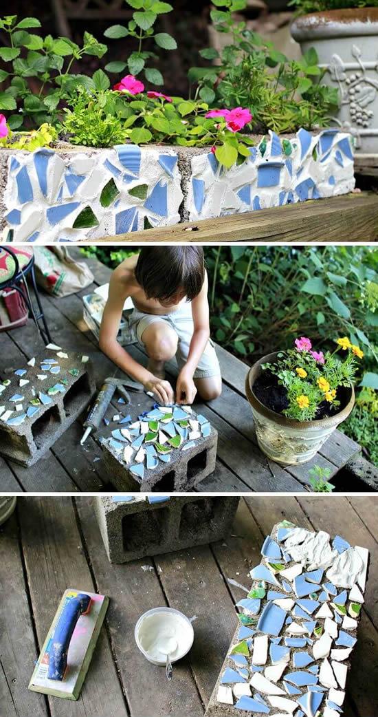 Aprenda como fazer mosaico em bloco de concreto