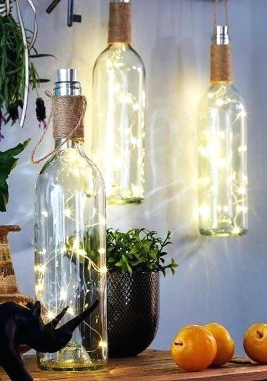 Ideias para fazer uma decoração linda com garrafas de vidro