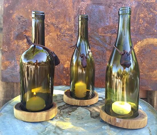 Luminárias com garrafas e velas