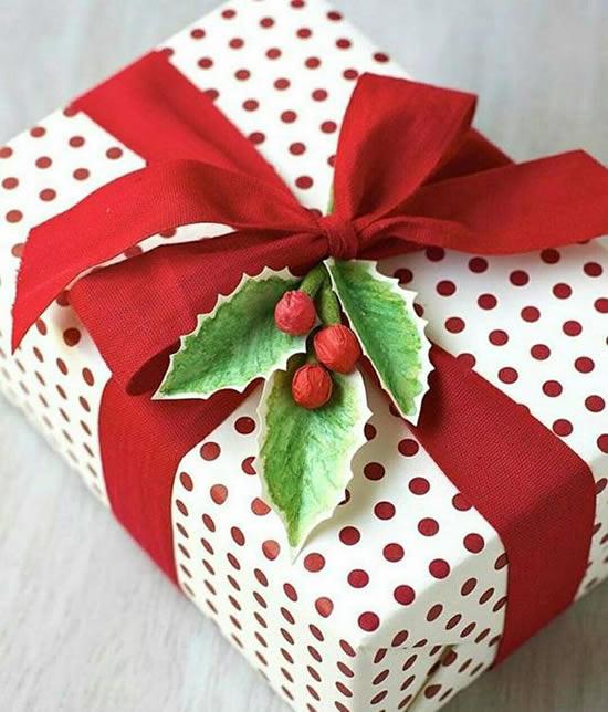 Lindo embrulho de Natal para presente