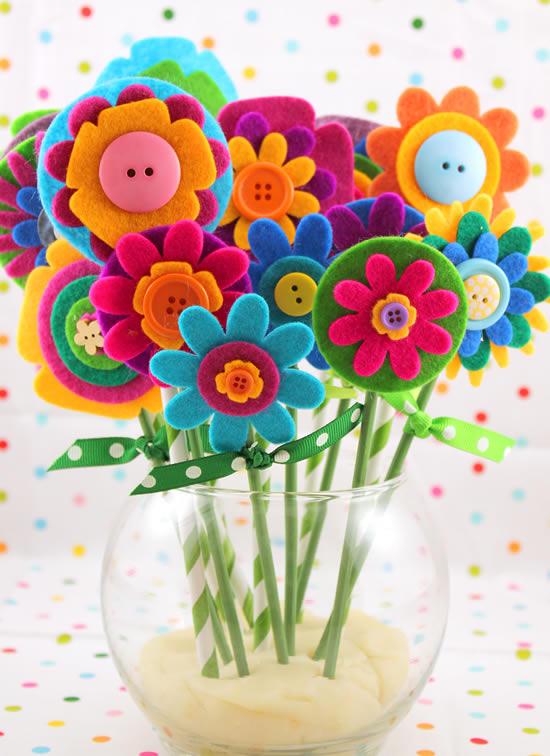 Flores de feltro lindas e criativas