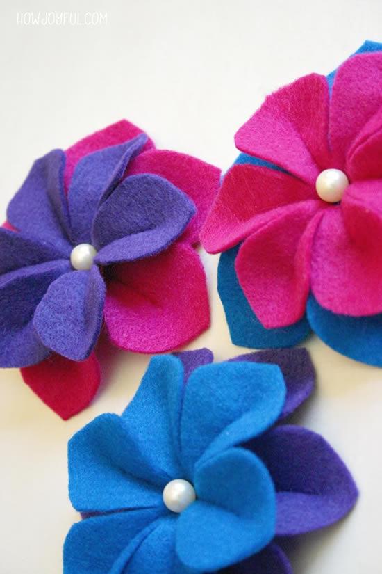 Flores de feltro para decoração passo a passo