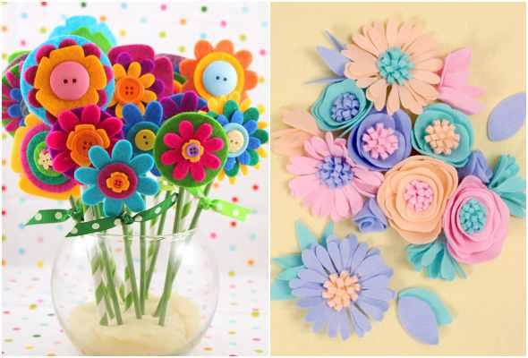10 ideias maravilhosas para fazer flores de feltro