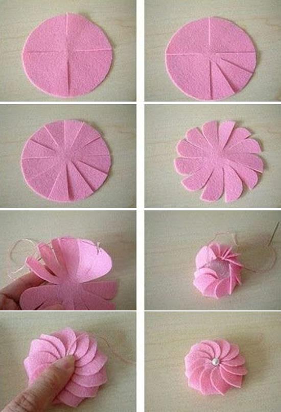 Faça uma linda flor com feltro