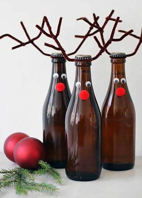Recicle garrafas e faça enfeites de Natal