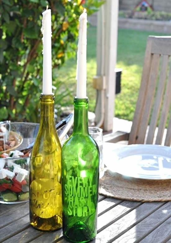 Enfeite de mesa com garrafa para Natal