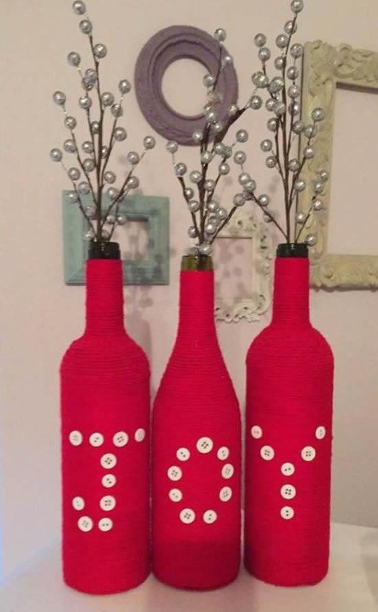 Lindas garrafas como enfeites para Natal