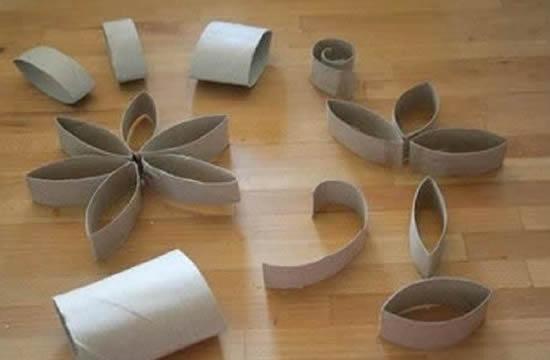 Reciclagem de rolo de papelão