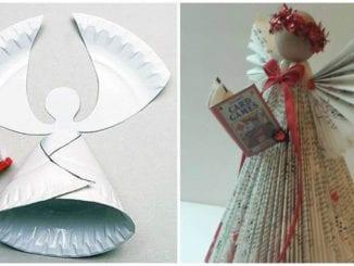 Anjos com reciclagem para decoração de Natal
