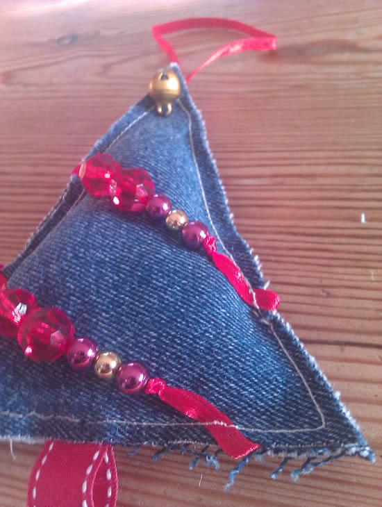 Enfeites com jeans para o Natal
