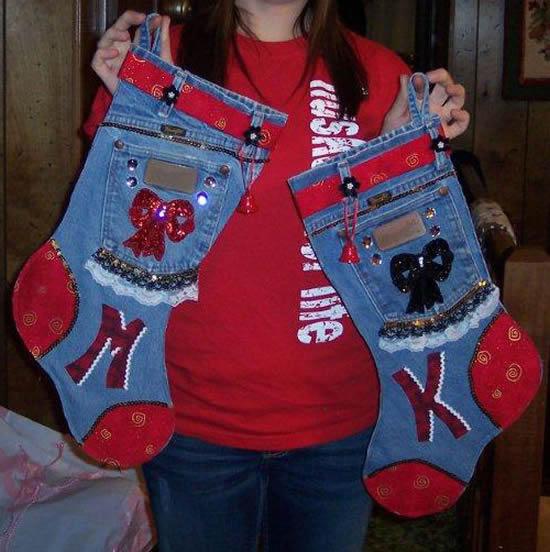 Bota com jeans para enfeite de Natal