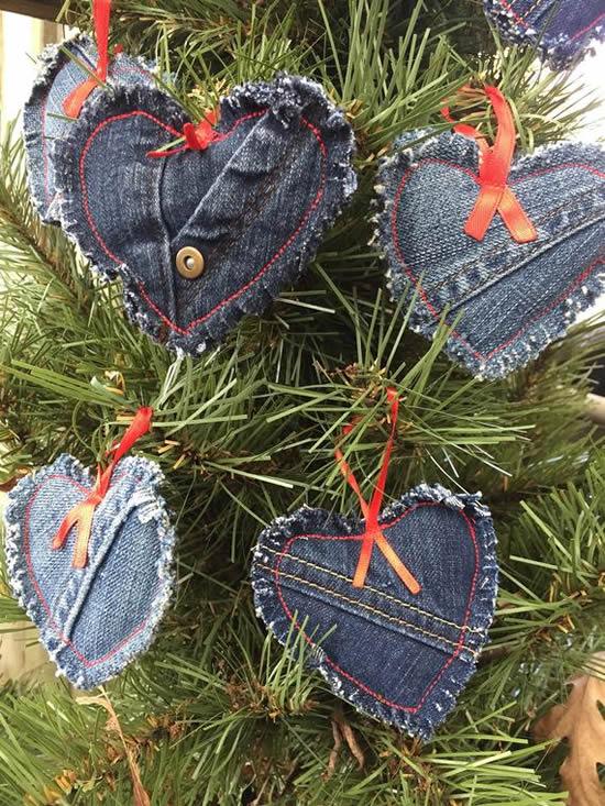 Decoração de Natal com jeans