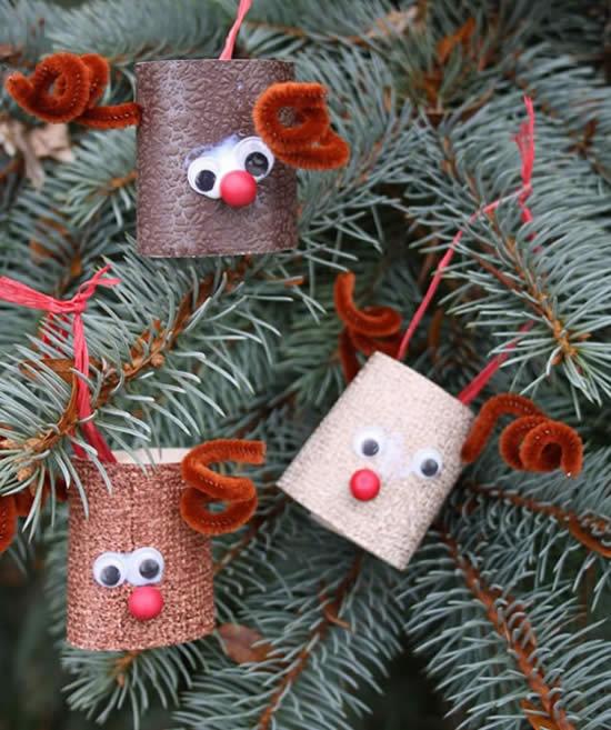 Artesanato com rolos de papelão para Natal