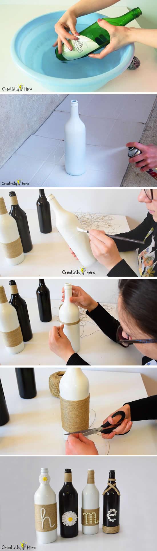 Passo a passo de artesanato com garrafa de vinho