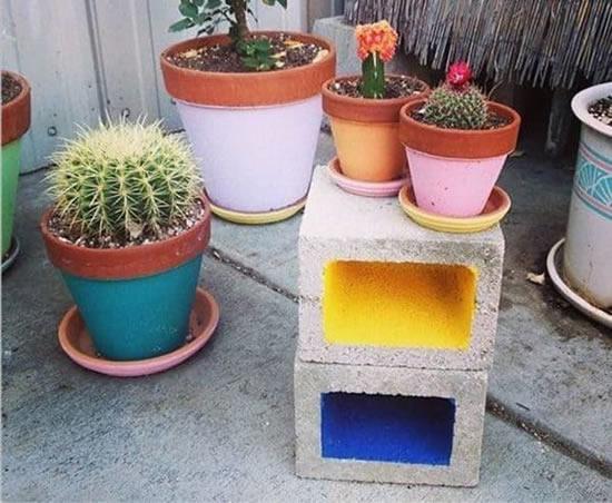 Decoração linda com blocos de concreto