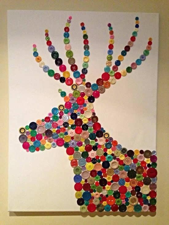 Decoração de Natal com botões coloridos