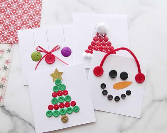 Cartão de Natal com botões