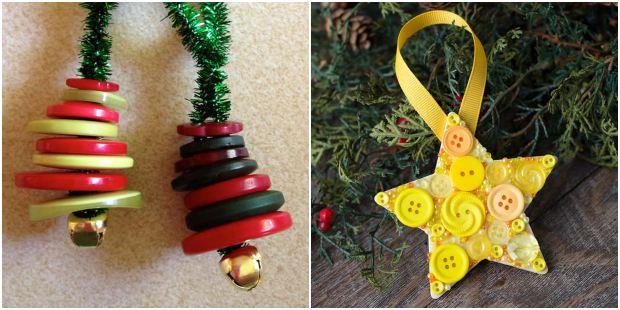 Enfeites com botões para decoração de Natal
