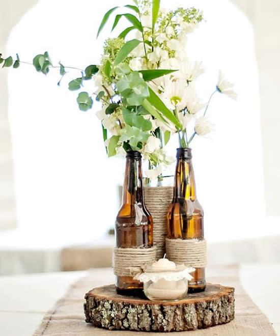 Decoração rústica com garrafas de vidro