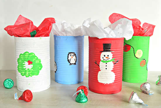 Lembrancinhas com latas para o Natal