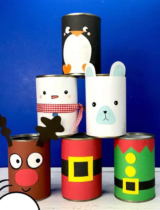 Decoração com latas para o Natal