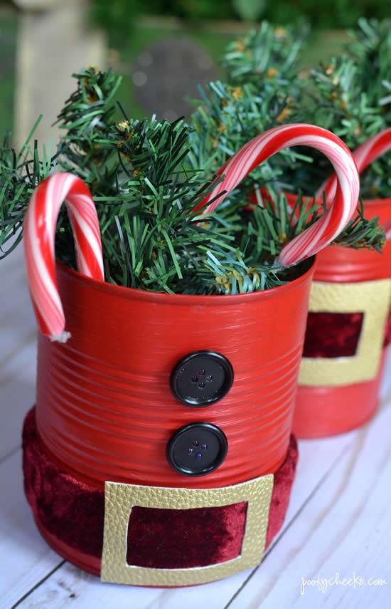 Enfeites de Natal com latas recicladas