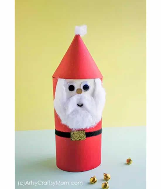 Reciclagem de rolo de papel para fazer Papai Noel
