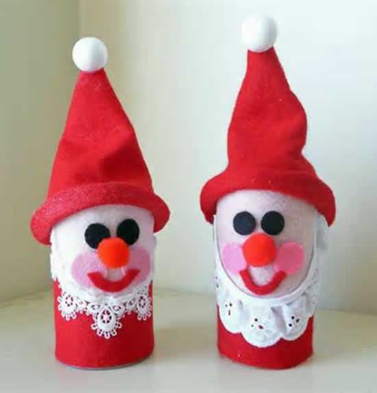 Papai Noel com reciclagem de rolo de papelão