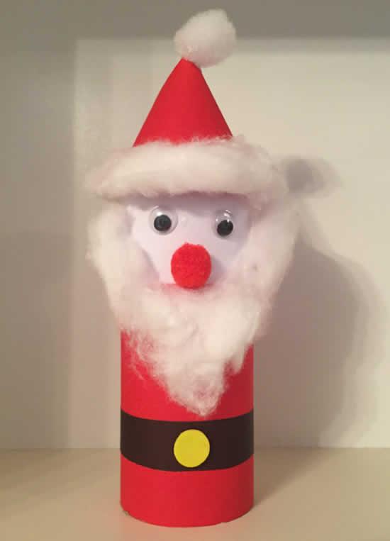 Lembrancinha de Natal com rolo de papelão - Papai Noel