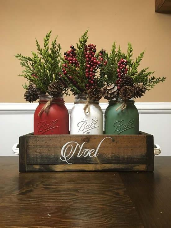 Decoração criativa com potes para Natal
