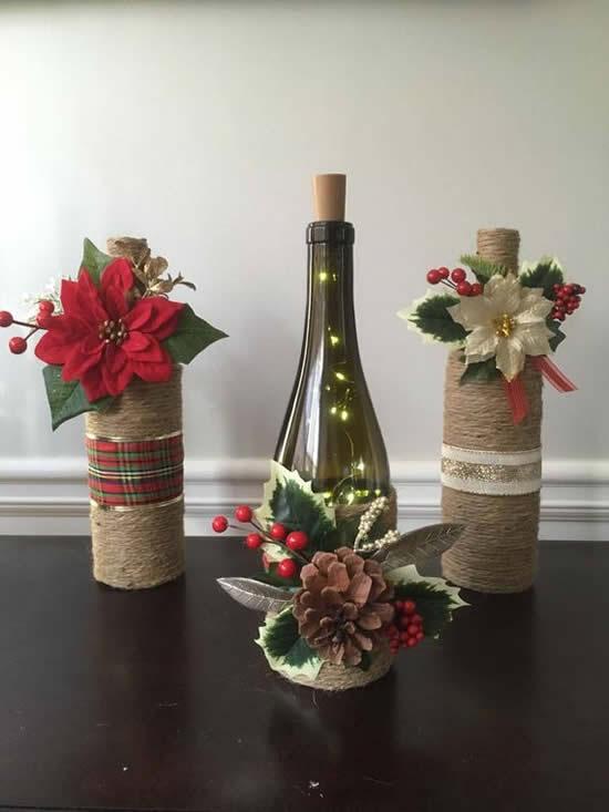 Decoração criativa com garrafas para Natal