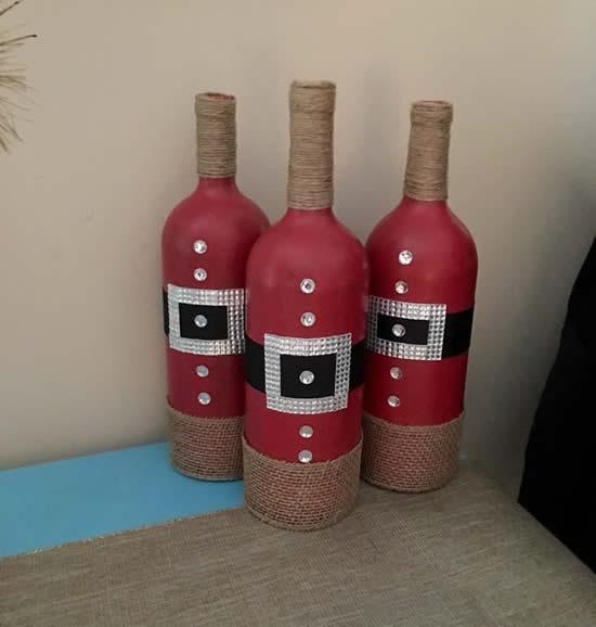 Decoração com garrafas para Natal