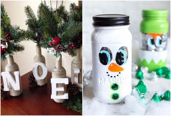 Decoração de Natal com garrafas e potes