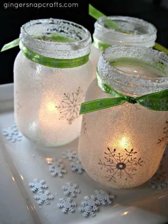 Decoração com reciclagem de potes para o Natal