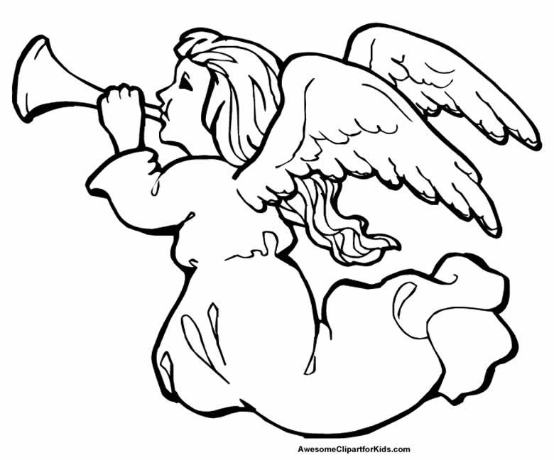 Molde de anjinha de Natal para colorir