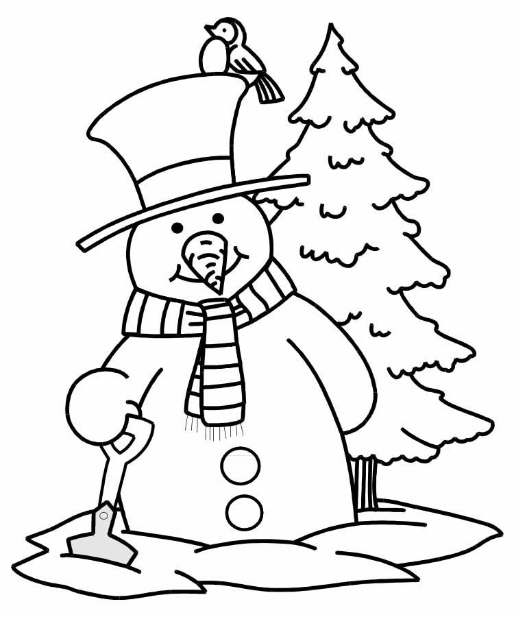 Desenho de Boneco de Neve para imprimir e colorir
