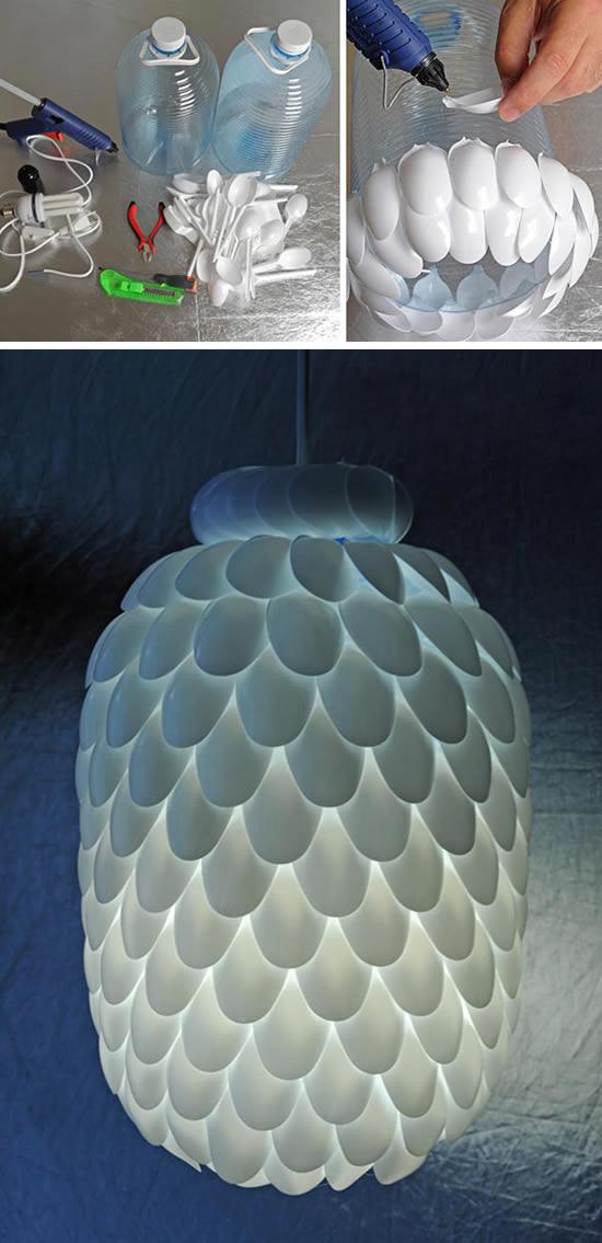 Ideia com colheres de plástico