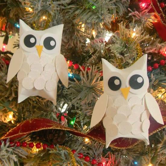 Enfeite com rolo de papelão para Árvore de Natal