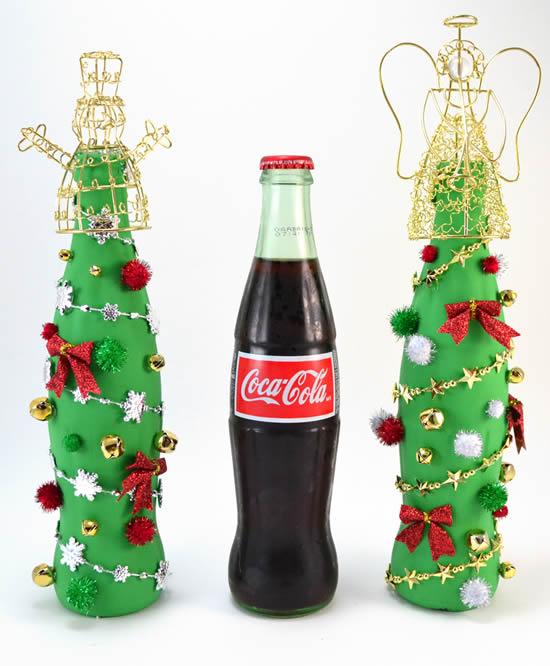 Enfeite com garrafa de vidro para Natal
