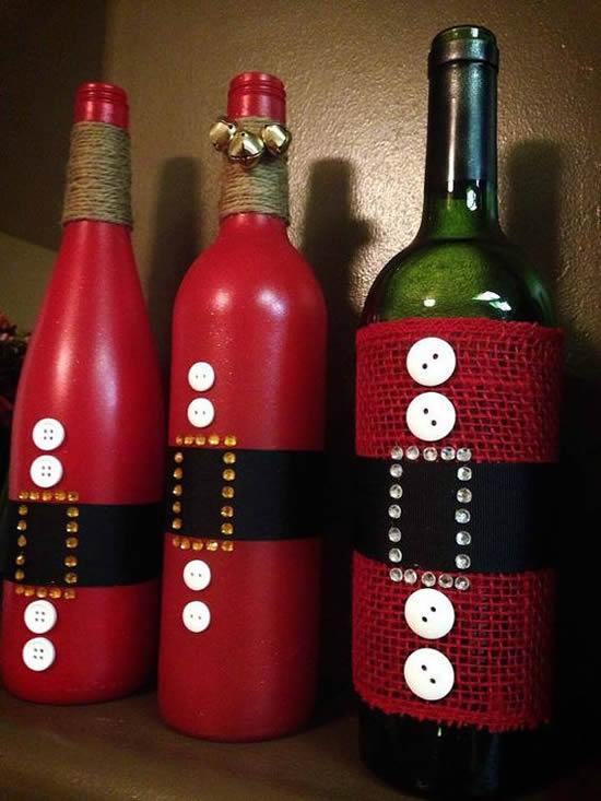 Artigos decorativos com garrafas para o Natal
