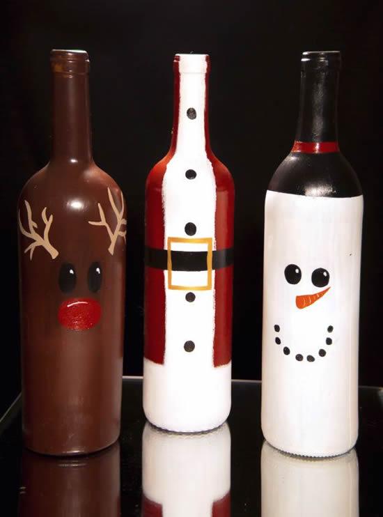Lindos enfeites de Natal com garrafas