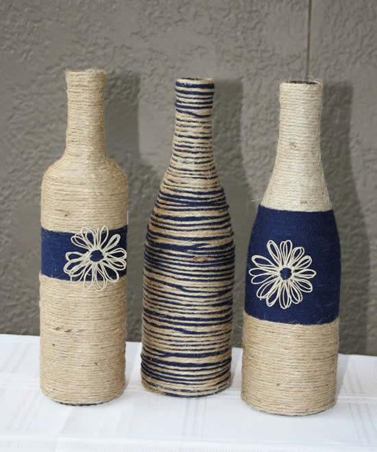 Ideias criativas para decorar garrafas com barbante98iuytrwq