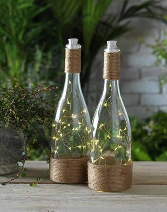 Ideias criativas para decorar garrafas com barbante